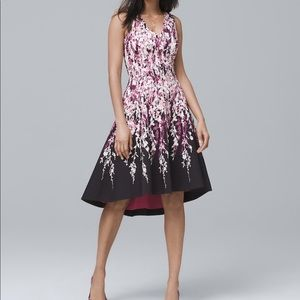 WHBM FLORAL-PRINT HIGH-LOW FIT-AND-FLARE DRESS